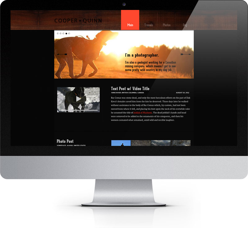 The homepage of Cooper Quinn's website