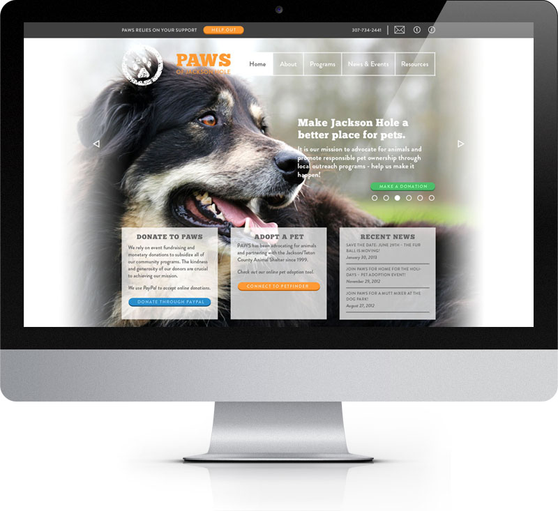 The homepage for the PAWS of Jackson Hole site