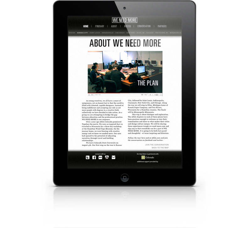 The tablet view of a We Need More page